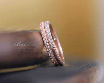 Milgrain Pave Band Set-Full & Half Eternity Ring Set-Brilliant Cut Pave Stone-Stackable Ring-Rose Gold Plated-Sterling Silver [0854RGEH-2]