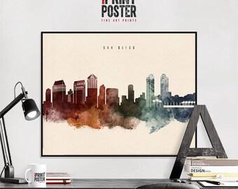 san diego print wall art skyline poster travel poster wall decor watercolour