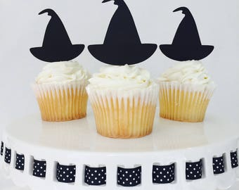 12 Witch Hat Cupcake Toppers - Halloween - Halloween Party - Scary - Party Decorations -  Party Supplies - October - Glitter