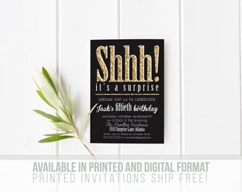 Printed Set of Gold Glitter Shhh! It's a Suprise Party Invitations- Black and White- Sparkle- Envelopes Included
