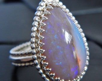 Genuine Australian Opal and Sterling Silver Ring - Australian Opal Ring - Purple Opal - Size 7 Ring - October Birthstone Ring - Large Opal