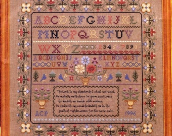 "23rd Psalm Sampler Angela Pullen Forget Me Nots Sealed Counted Cross Stitch Kit # 44061 Linen 32 Count Fabric Size 14 3/4"" x 14 3/4"""