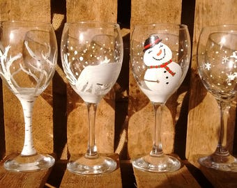 White Christmas Handpainted Wine Glasses