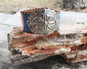 Leather Cuff - Cuff Bracelet - Concho Bracelet - Leather Jewelry - Concho Leather Cuff - Guatemalan Textiles