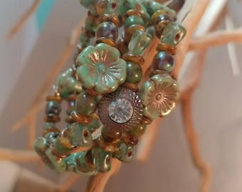 Wire beaded wrap bracelet - greens & browns