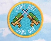 Iron-on Patch | Sun's Out, Guns Out Patch | Sun's Out, Guns Out | Patch | Water Pistols | Water Guns | Funny Patch | Fun Patch | Flair