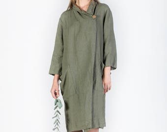 Washed Long Linen Jacket, Linen jacket with deep pockets, Linen Coat, Linen Cardigan, Loose linen coat, comfortable linen jacket