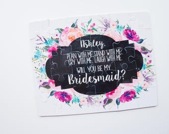 Bridesmaid Proposal Puzzle   Will you be my Maid of Honor Bridesmaid Flower Girl Bridal Party 004