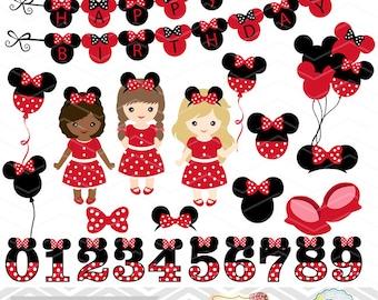 Digital Minnie Girl Clipart, Girl Minnie Clip Art, Red Minnie Birthday Party Clip Art, Red Minnie Numbers Clip Art 0217