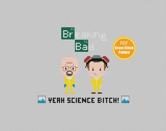 Breaking Bad Cross stitch Pattern - PDF file Instant Download - Walter White - Science Bitch - Better Call Saul - Crossstitch Pettern