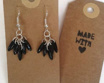Short black beaded earrings