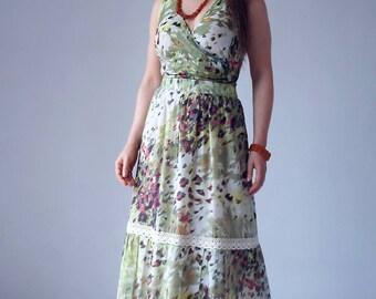 bohemian top and maxi skirt set, two piece dress, long, summer, flounce, silk, cotton, wrap tied top, hot summer, boho, lace, gathered skirt