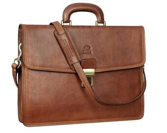 Leather briefcase, mens leather briefcase, Leather bag, laptop bag, leather portfolio, leather messenger bag - The sound of the Mountain