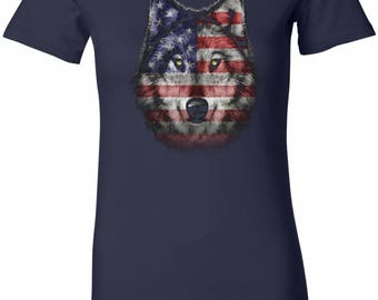 Ladies USA Wolf Longer Length Tee T-Shirt 20979D1-6004