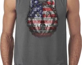 Men's USA Wolf Sleeveless Tee T-Shirt 20979D1-42700