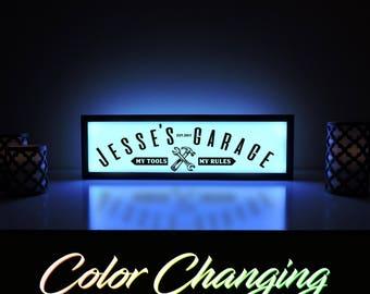 Garage Sign, Custom Garage Sign, Workshop Light, Custom Workshop Sign, Dad's Workshop, Personalized Garage Sign, Gifts for Him
