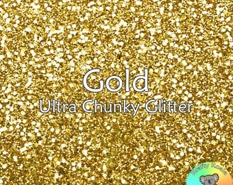 Gold Chunky Glitter Fabric A4 Or A5 Sheets Faux Leather For Bows & Crafts