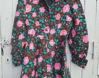 Petite vintage dress Uk size 6 Petite vintage floral rose fabric by 'Doba'