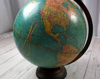 "Vintage Replogle Globe 12"" inch Metal Stand Vintage Shabby Globe  Terrestrial. Mid Century World Globe Rare"