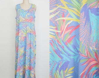 Vintage 1990s Sleeveless Day Dress - Leaf Pattern - Tropical Plant Print - Scoop Neck - Maxi Dress - Women's Extra Large - Plus