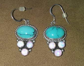 Nakai Sterling, Turquoise and Opal Earrings