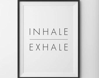Inhale Exhale Print Minimalist Typography Art Breathe Home Wall