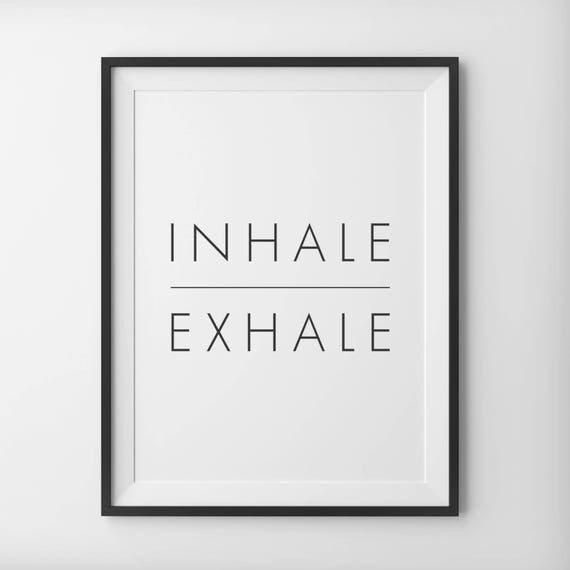 Inhale Exhale Print Minimalist Typography Art Breathe Home Wall Yoga Pilates Digital