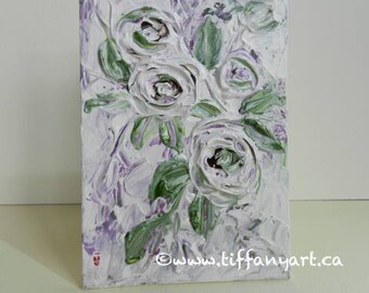 Rose painting, Original flower painting, Floral painting, Impasto floral painting, Abstract painting, Small painting, Mini canvas,Canvas art