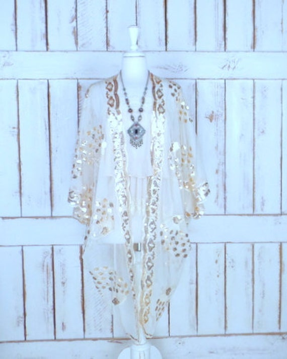 Sheer ivory net metallic gold sequin peacock gypsy festival