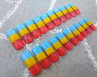 READY TO SHIP - extra long square pansexual pride flag nails - lgbtqa press on nails - glue on gloss nails - panromantic costume nails