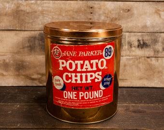 Vintage Jane Parker Potato Chips Tin A & P Tea Co. NY Paper Label Kitchen Farmhouse Country Decor Advertising Container Storage Tin