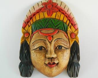 Vintage Decorative Ethnic Wooden Mask, Handmade Mask,Retro Gift, Wall Hanging Handcarved Mask, Indian Female mask,Ethnic Decoration