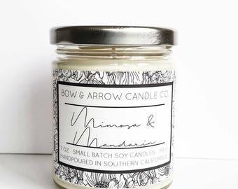 Mimosa & Mandarin Natural Soy Candle 7 oz | Eco-Friendly Candle | Soy Candle | Mimosa Candle | Spring Candle | Gift Idea | Mandarin Scented