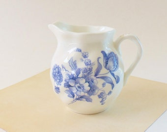 Coalport Blue and White Creamer - Vintage English Bone China 3 In. Creamer - Divinity Blue Floral Pattern - Translucent with Gold  Accents