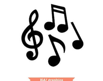 Musical Notes, Silhouette Cameo, Clipart, Vector, Instant Download, PNG, SVG and DXF File