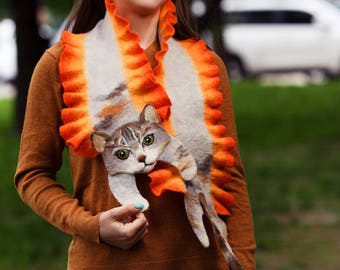 Wool Scarf Three Color Cat