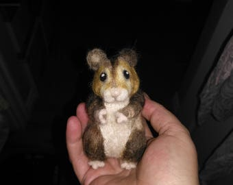 Needle Felted Hamster, Syrian, Realistic Stuffed Animal, 100% wool