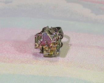 Pastel Grunge Ring, Bismuth Ring, Goth Ring, Gothic Ring, Crystal Ring, Rainbow Bismuth Ring, Soft Grunge Ring