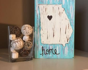 Home is Where the Heart Is Hand Painted Wooden Plaque | Multiple Sizes | Any State Available | Any City Available