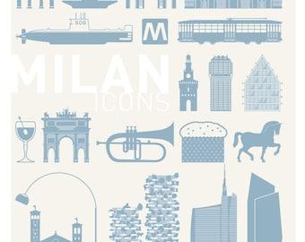 Poster Milan Icons 01 pictograms