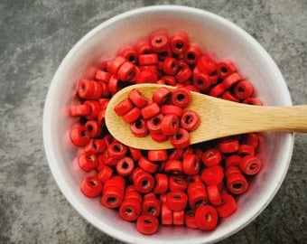 200 pcs, washers, beads wooden beads, red beads, 6 mm beads