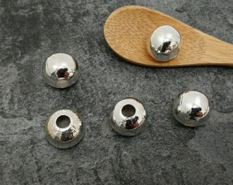 10 mm, 10 pcs, large hole 4 mm round beads, Metal Silver