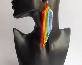 Rainbow earrings Gay pride Lgbt earrings  lesbian earrings Beaded jewelry Fringe earrings Colorful earrings Handmade earrings lesbian gift