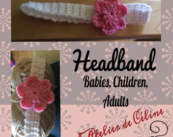 Crochet - elastic headband - flower - child baby head band
