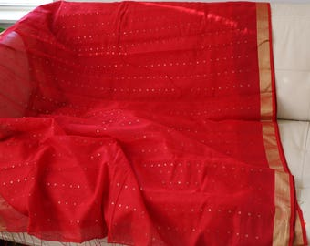 Pure Muslin Handwoven All Over Sitara Red Sari with Gold Border and Jamdani Palla{FREE SHIPPING}