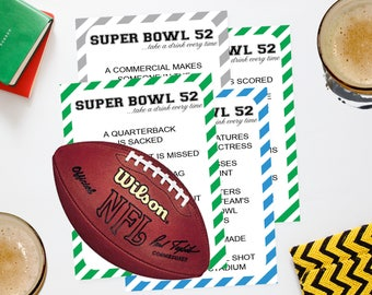 2018 Super Bowl DRINKING Game Printable  //LII  SuperBowl 52 Party Game  // Football Drinking Game
