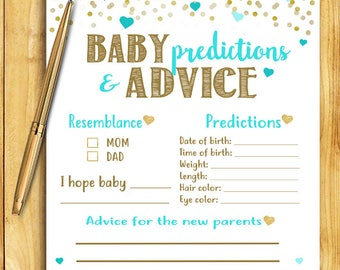 Baby Shower Game - Baby Predictions and Advice - Teal and Gold - Instant Printable Digital Download - diy Baby Shower Printables Activity