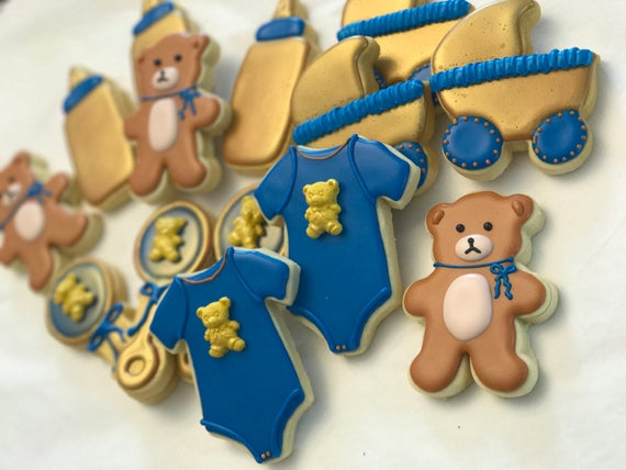 Teddy Bear Baby Shower Cookie Assortment Baby Boy Shower Cookies