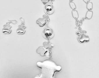 Tous  Necklace 3p set silver baby bear jewelry