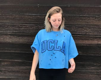 UCLA Crew Neck Crop Top Boxy Sweatshirt, college apparel,  large